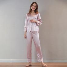 AKBSUN Ladies Fashion Silk Pajamas Family Casual Pajamas Summer Long Sleeve V-Neck Women 2psc Pants Set Clothing Casual Wear
