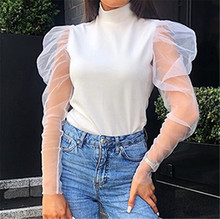 Autumn Sexy transparent mesh sleeve ruffled women Tshirt Party chic white tops Off shoulder Turtleneck  female Clothing
