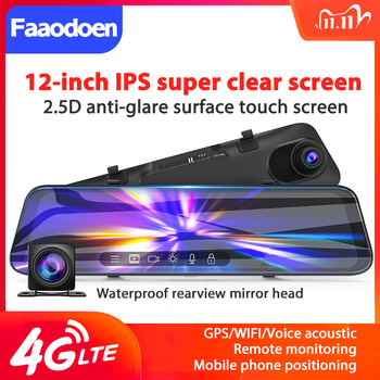 4G Dash Cam 12 inch Car Rearview Mirror ADAS Android 8.1 FHD Auto Recorder GPS Navigation Dash Camera Rear View Mirror Car DVR image