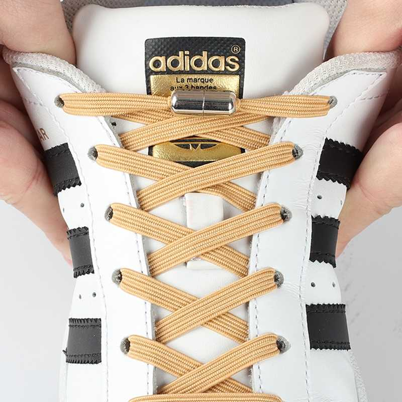 1Pair Flat Elastic Locking Shoelace No Tie Shoelaces Special Creative Kids  Adult Unisex Sneakers Women Men Shoes Laces strings    - AliExpress