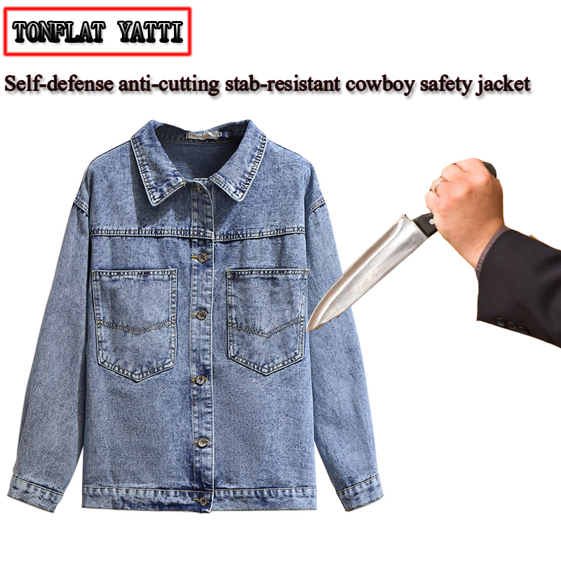 New Ladies Self-defense Anti-cutting Stab Denim Jacket Fashion Large Size Invisible Flexible Anti-hacker Safety Outdoor Clothing