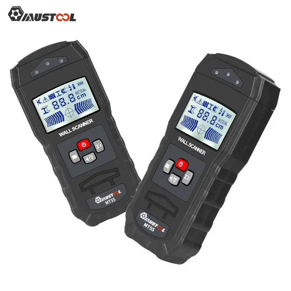 MUSTOOL Digital Wall Scanner Detector Detecting Wire Live Cable Water Pipes Metal Electronic Measuring Instruments MT55