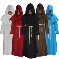 Medieval Monk Costume Men Vintage Renaissance Monk Cosplay Cloak Robe Friar Priest Costume Halloween Costumes for women Dress