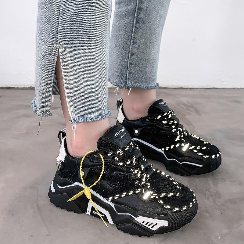 Rimocy Platform Black Sneakers Women Luminous Reflective Trainers Woman Shoes Tenis Feminino Casual 2019 Glowing Vulcanize Shoes