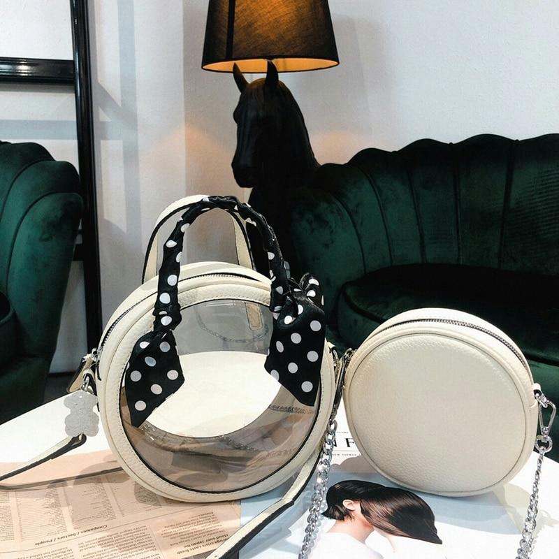 FashionWomen'S Trasparente di Modo di Strato Superiore Della Pelle Bovina Piccola Borsa Rotonda Spalla A Tracolla casual Shopping Borsa Sciarpa - 4