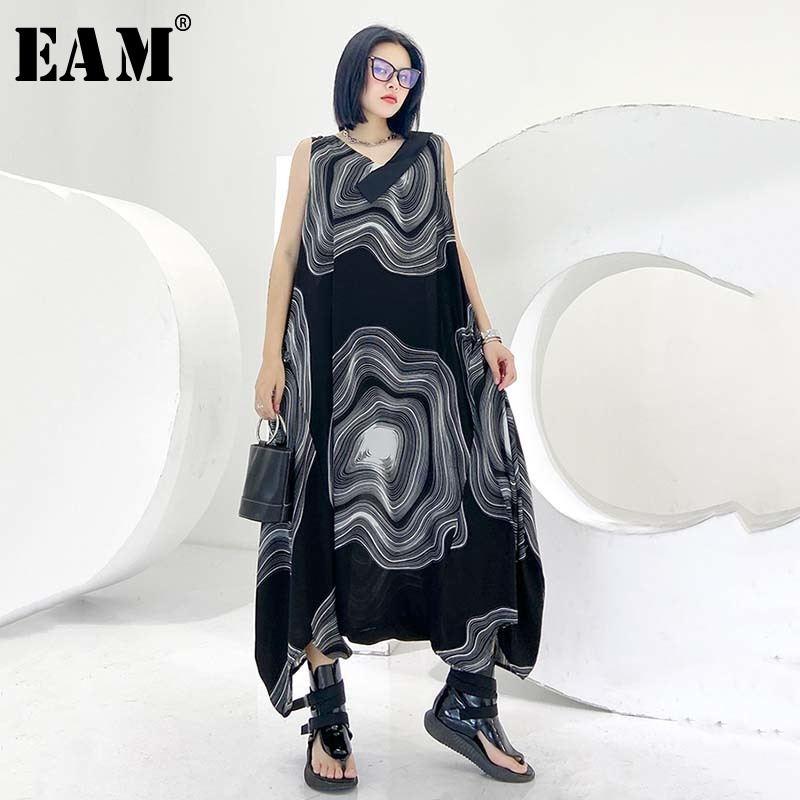 [EAM] Loose Fit Women  Black Pattern Printed Long Big Size Jumpsuit New High Waist Pants Fashion Tide Spring Summer 2020 1U720