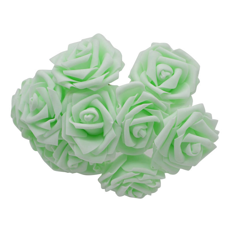 10 шт. 8 см большие ПЭ пенные цветы искусственные розы цветы Свадебные букеты Свадебные украшения для вечеринки DIY Скрапбукинг Ремесло поддельные цветы - Цвет: light green no leaf