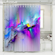 Psychedelic Ombre Nebula Shower Curtain Landscape 3D Printing Waterproof Polyester for Bath Shower Curtain Bathroom Boho Decor ombre shimmer background pattern waterproof shower curtain