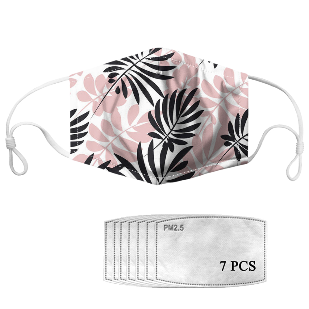 Fashion Tropical Leafs Ladies Mouth Mask Outdoor Protection Face Masks with PM2.5 Custom Reusable Windproof Mask Cubreboca