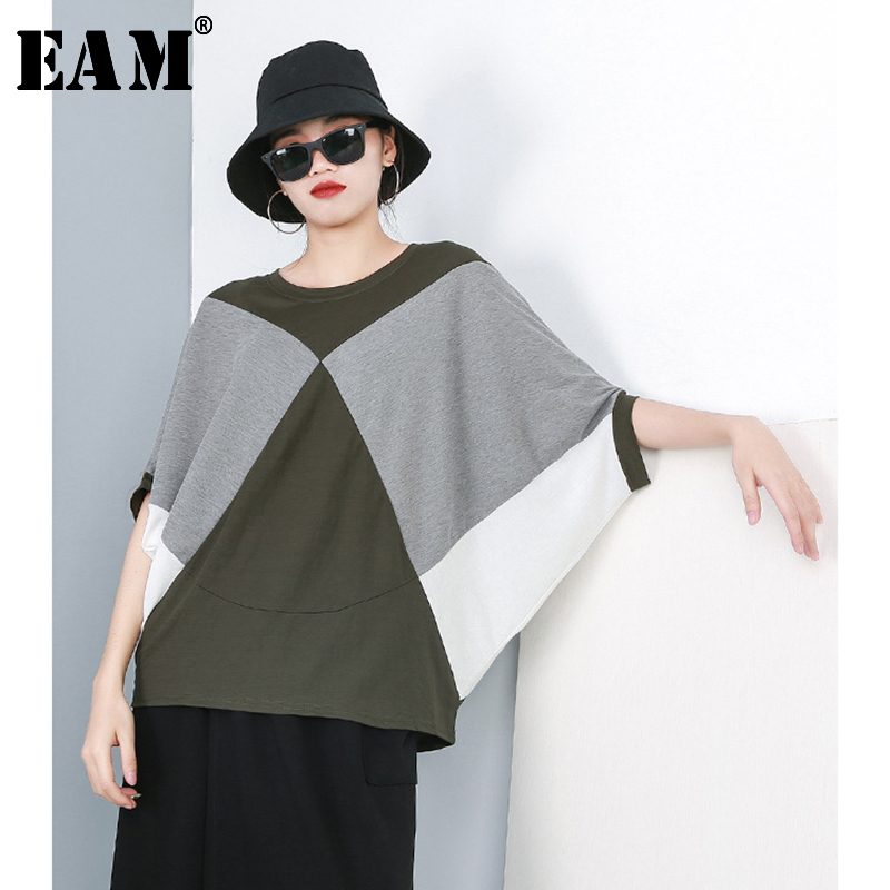 [EAM] Women Green Contrast Color Big Size T-shirt New Round Neck Three-quarter Sleeve  Fashion Tide  Spring Autumn 2020 JR186
