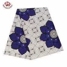 Ankara Fabric Africa Polyester Print Blue Flower African BintaRealWax High Quality 6 yards/lot African Fabric for Dress FP6343