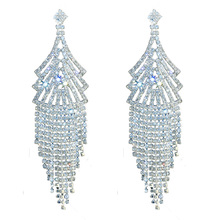 цена на Chran Bohemian Women Long Tassels Earrings Statement Luxury Sparkling Rhinestone Chandelier Dangle Earrings for Valentine's Day