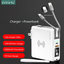 FERISING 22.5W PD 5A SCP FCP Super Fast Quick Charger Type USB C QC3.0 QC4.0 10000mAh Wireless LED Power bank for Xiaomi adapter