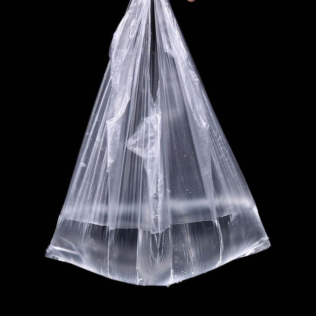 46/90pcs Transparent 215*23cm Transparent Bags Shopping Bag Supermarket Plastic Bags With Handle Food Packaging