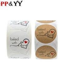 1 polegada kraft natural redondo cozido com etiquetas do amor etiquetas bonitos para etiquetas do selo etiqueta feita à mão