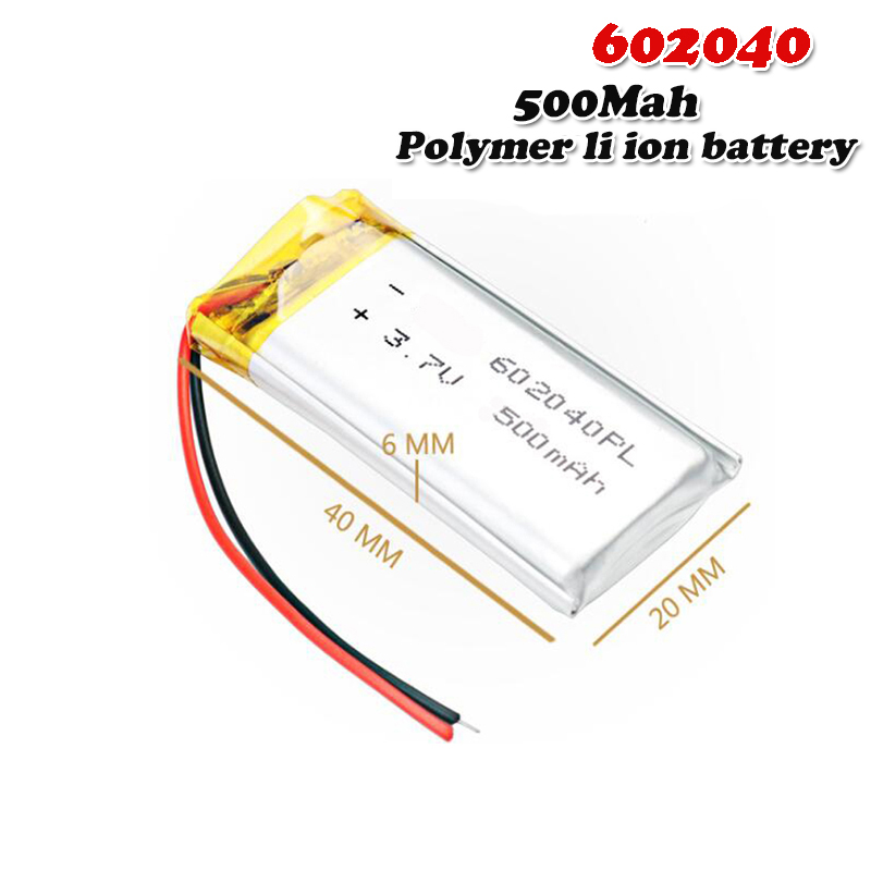 500mAH 3.7V 602040 polymer lithium ion / Li-ion Rechargeable battery For mp3 mp4 GPS Voice Recorder Backup Power PC Smart Watch(China)