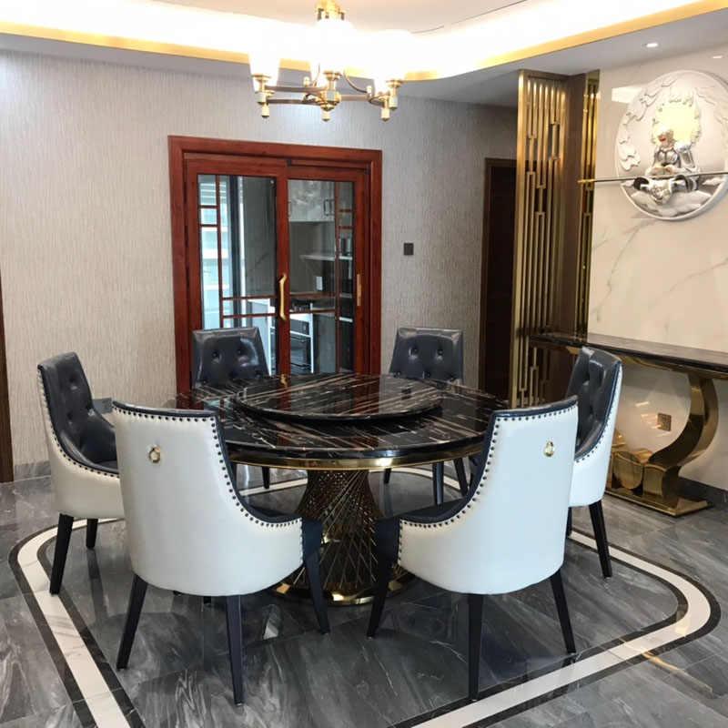 Postmodern Villa modeli mermer yuvarlak paslanmaz çelik yemek masası