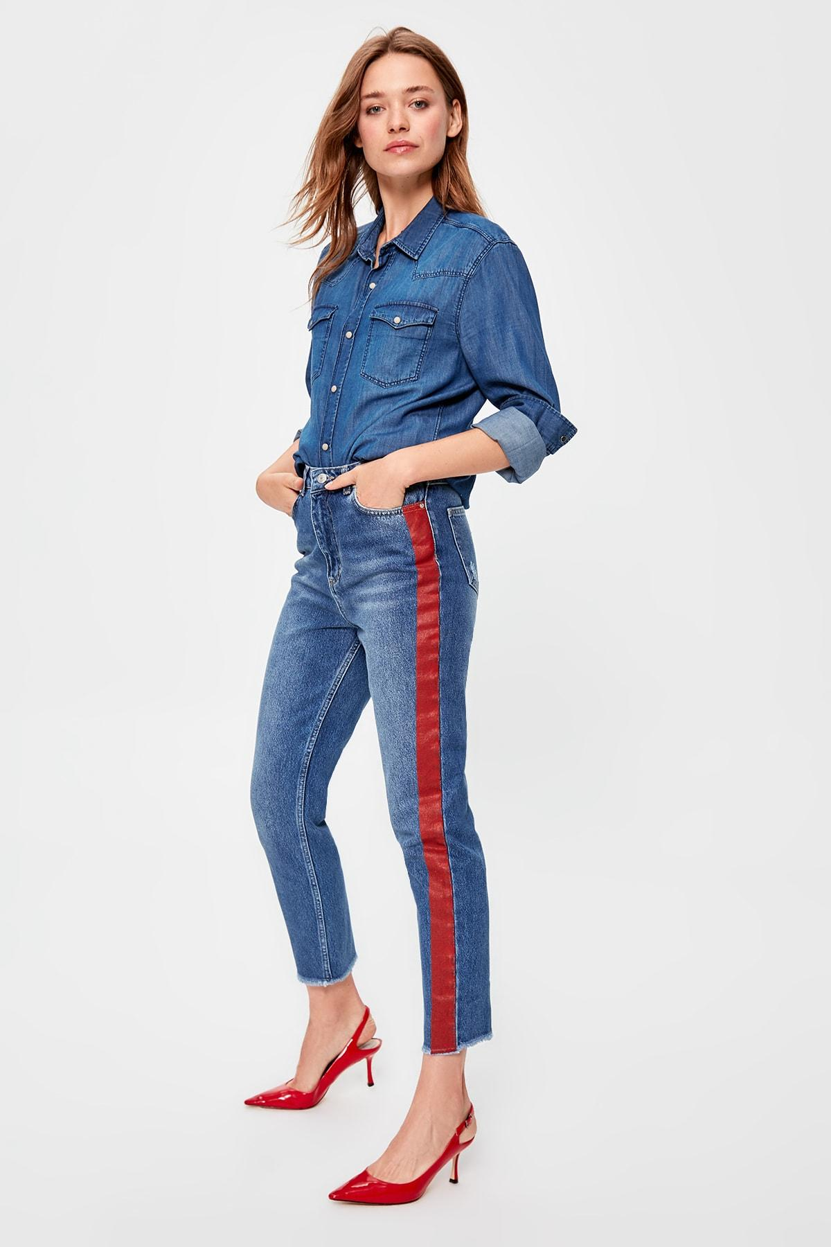 Trendyol Blue Print Detailed High Bel Mom Jeans TWOAW20JE0156