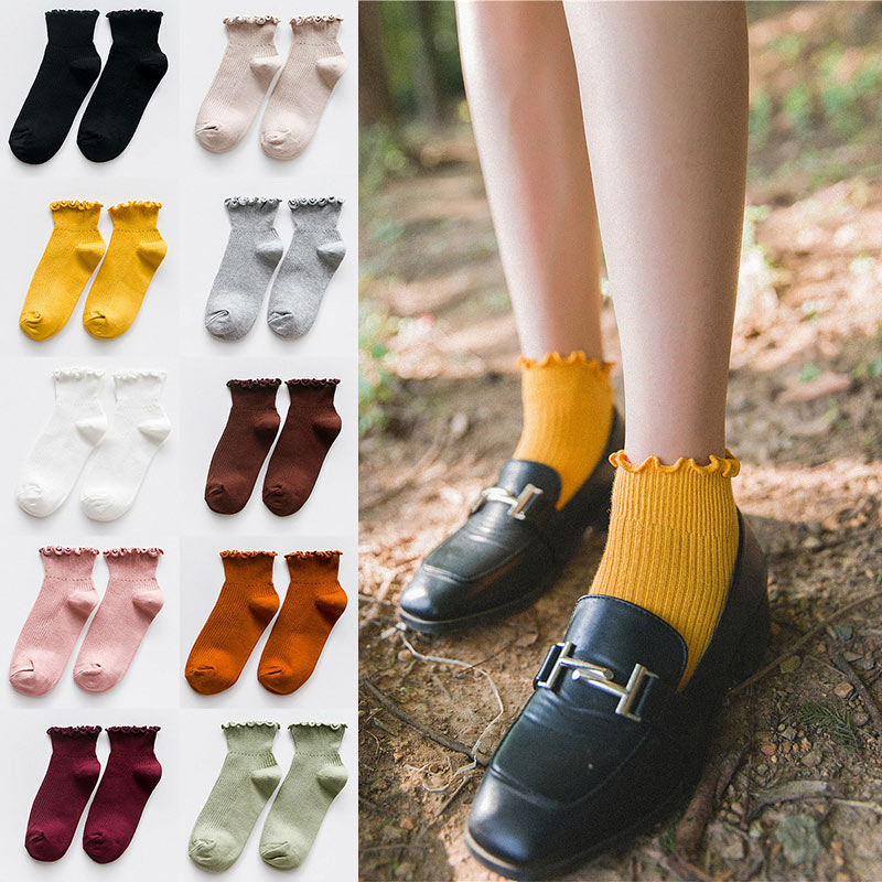 Fashion Women Socks Cute Solid Color Ankle High Casual Warm Breathable Socks C55
