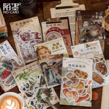 40pcs/1lot Stationery Stickers Vintage Cafe Bread Junk Journal Diary Decorative Mobile Stickers Scrapbooking DIY Craft Stickers