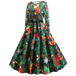 S-5XL Christmas Print Vintage Dress Women Autumn Winter Long Sleeve A-line Midi Party Dress Pin Up 50s 60s Robe Femme Plus Size 2