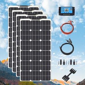 Image 1 - גמיש פנל סולארי ערכת 300W 400W 24v 12 V סלולרי מודול paneles solares עבור חניך קרוון סירה רכב סוללה טעינת אנרגיה