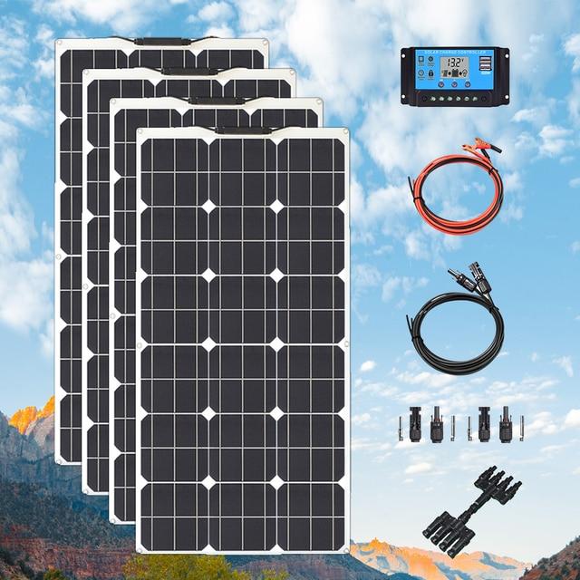 גמיש פנל סולארי ערכת 300W 400W 24v 12 V סלולרי מודול paneles solares עבור חניך קרוון סירה רכב סוללה טעינת אנרגיה