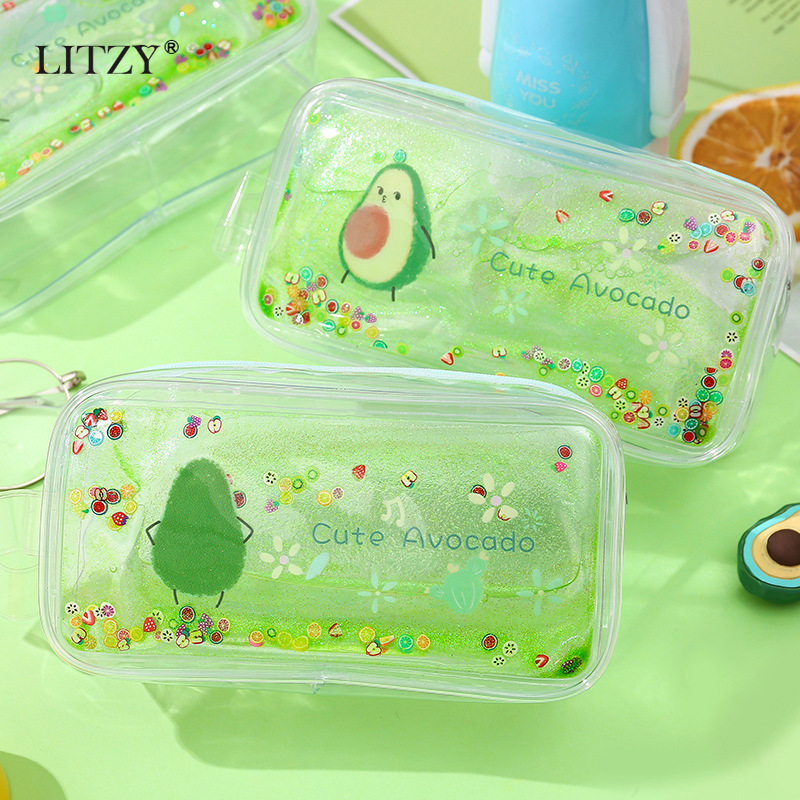 Kawaii Pencil Case Avocado Transparent Gift Estuches School Pencil Box For Girl Pencilcase Pencil Bag School Supplies Stationery