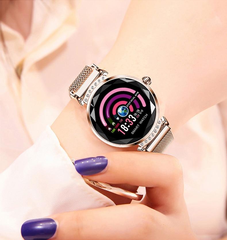 2019 nouvelle montre intelligente de luxe Bracelet de Fitness femmes tension artérielle surveillance de la fréquence cardiaque Bracelet dame SmatWatch cadeau pour un ami