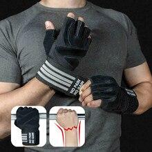 Luvas de levantamento de peso com suporte de pulso para o exercício pesado corpo construção ginásio treinamento fitness handschuhe treino crossfit luvas