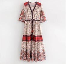 Boho Chic Vintage Floral Print Tie Tassel midi Dress Women 2019 Fashion V Neck Summer Beach Ladies Dresses Casual Vestidos Mujer