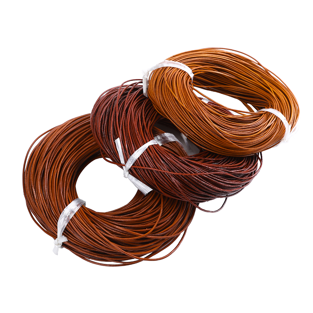 100 Meter Dia 1.5/2/3/4 MM Natural Color Real Genuine Leather Cord Round Rope String For DIY Necklace Bracelet Jewelry Cord