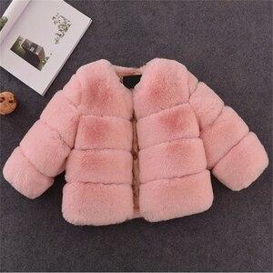 Image 4 - Dziewczyny futro kurtka dla dzieci topy ubrania 2020 nowe dziecko dzieci kurtki ciepły płaszcz ocieplany Solid Color chłopcy Faux futro odzież wierzchnia płaszcz