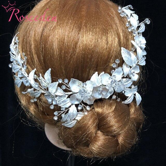 Neu Rose Gold Hochzeit lange Haar kämme Handgemachte metall Blume Kristall hochzeit Haar Zubehör Haar Ornamente Großhandel RE3486