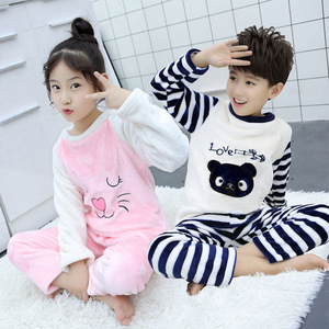 Детская Фланелевая пижама с вышивкой для мальчиков и девочек, Коралловая флисовая Пижама для дома, Осень-зима 2020