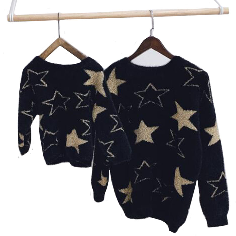 Family Sweaters Mother And Daughter Fashion Sweaters Pullovers  Five-pointed  Pullover Autumn Winter Baby Clothes Family Fitted
