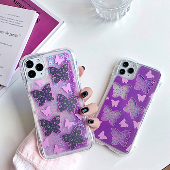 Liquid Quicksand Soft Case For iPhone SE Case 11Pro Max XS MAX XR 7 8 6 Plus Dynamic Butterfly Pattern Bling Glitter Phone Cover liquid water case for iphone 11 pro max se 2020 dynamic quicksand glitter bling soft tpu case for iphone 6 7 8 plus xs xr cover