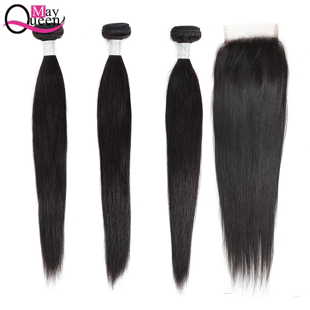 May Queen Straight Hair Bundles With Closure 100% Remy Human Hair Brazilian Hair Weave Bundles Extensions Natural Black
