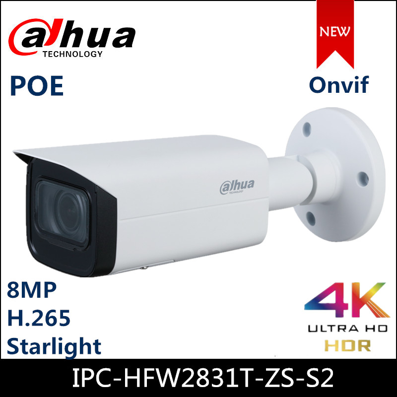 Dahua 8MP IP Camera Lite IR Vari Focal Bullet Network Camera IPC-HFW2831T-ZS-S2 IPC IR 60m 2.7 Mm–13.5 Mm Lens Cam
