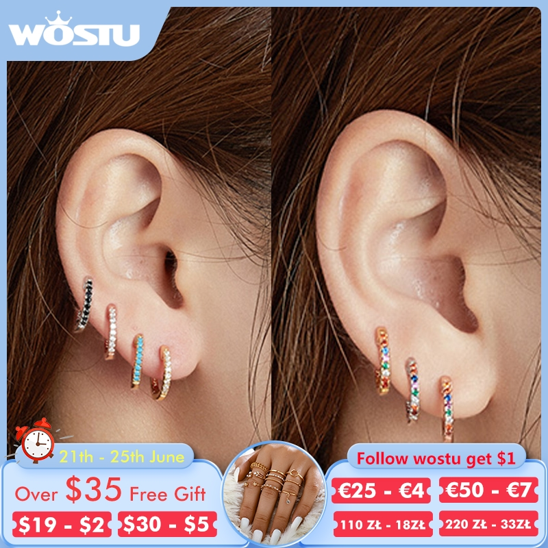 WOSTU 925 Sterling Silver Classic Round Silver Hoop Earrings Authentic Clear Zircon Earrings For Women Fashion Jewelry CQE498