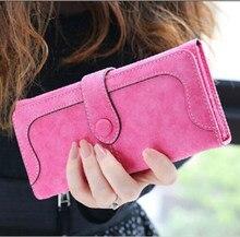 Portefeuille en Faux daim pour femmes, Long, en cuir mat, de bonne qualité, pochette, porte-monnaie, sac à main