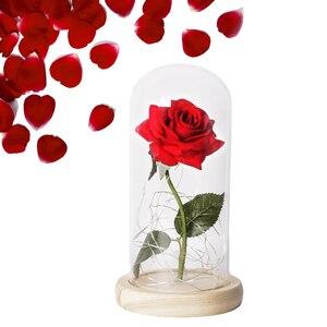 Image 4 - Piękna i bestia róża róża w szklanej kopule LED wieczna róża czerwona róża walentynki dzień matki specjalny romantyczny prezent