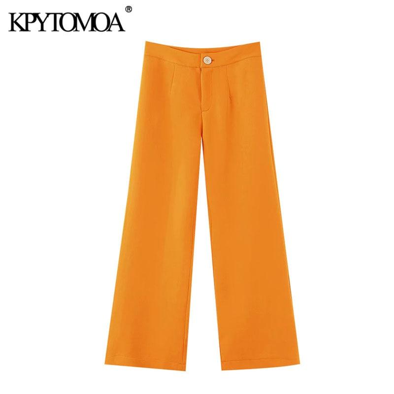 KPYTOMOA Women 2020 Chic Fashion Office Wear Wide Leg Pants Vintage High Waist Side Pockets Female Trousers Pantalones Mujer