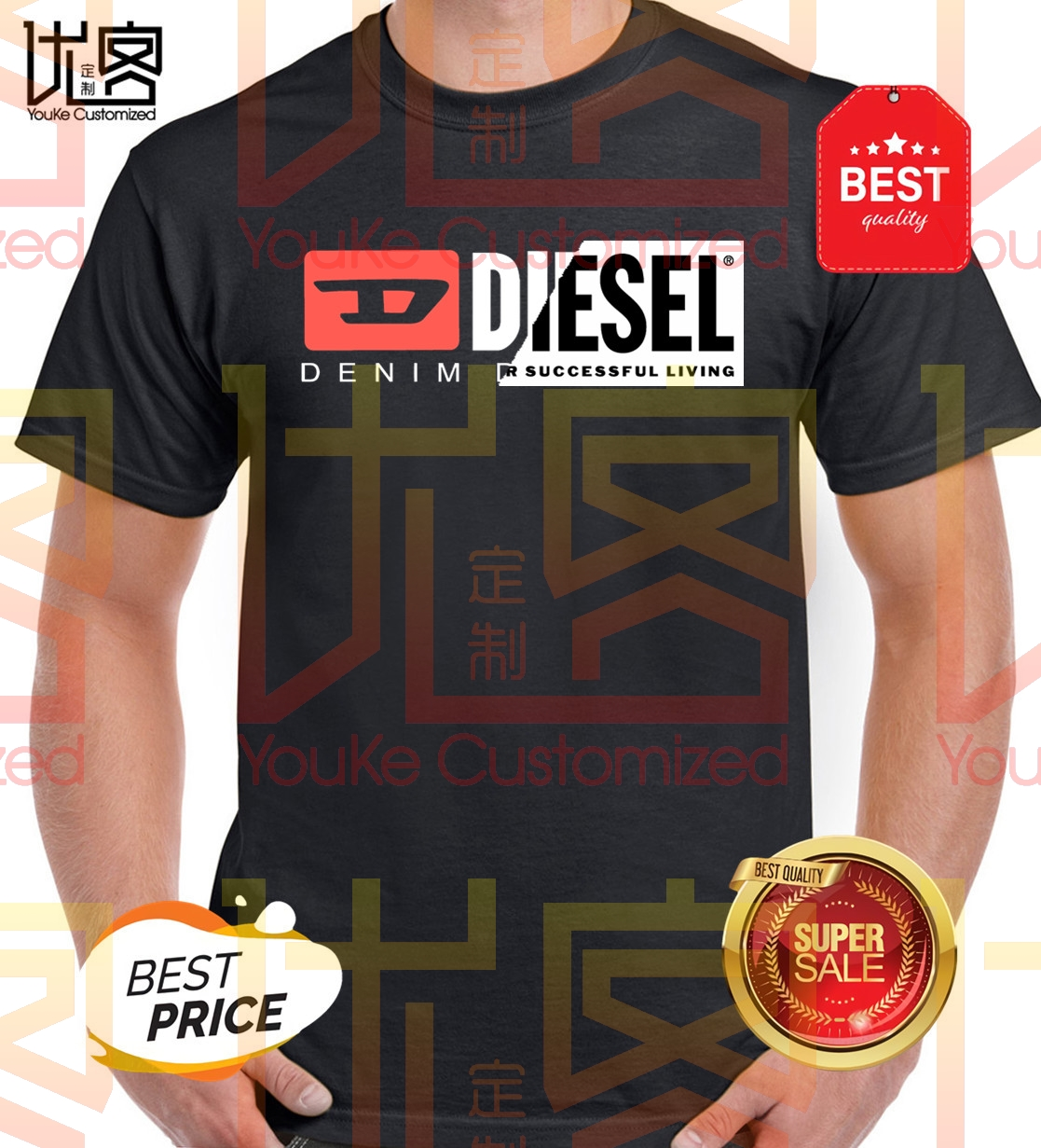 Diesel For Successful Living Shirt Men's Women's Summer 100% Cotton Team Tees Male Newest Top Popular Normal Tee Shirts