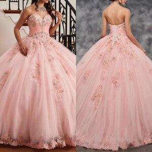 Belle rose Quinceanera robe robe de bal chérie dentelle avec perles 2020 robes de fête pour les filles de 15 ans