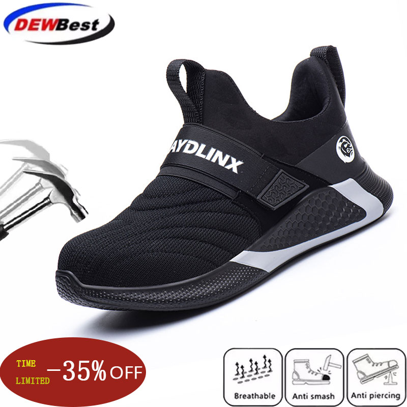Men's Safety Shoes, Four Seasons, Breathable And Comfortable Sports, Anti-smashing, Anti-stab Magic Stickers, Safety Work Shoes