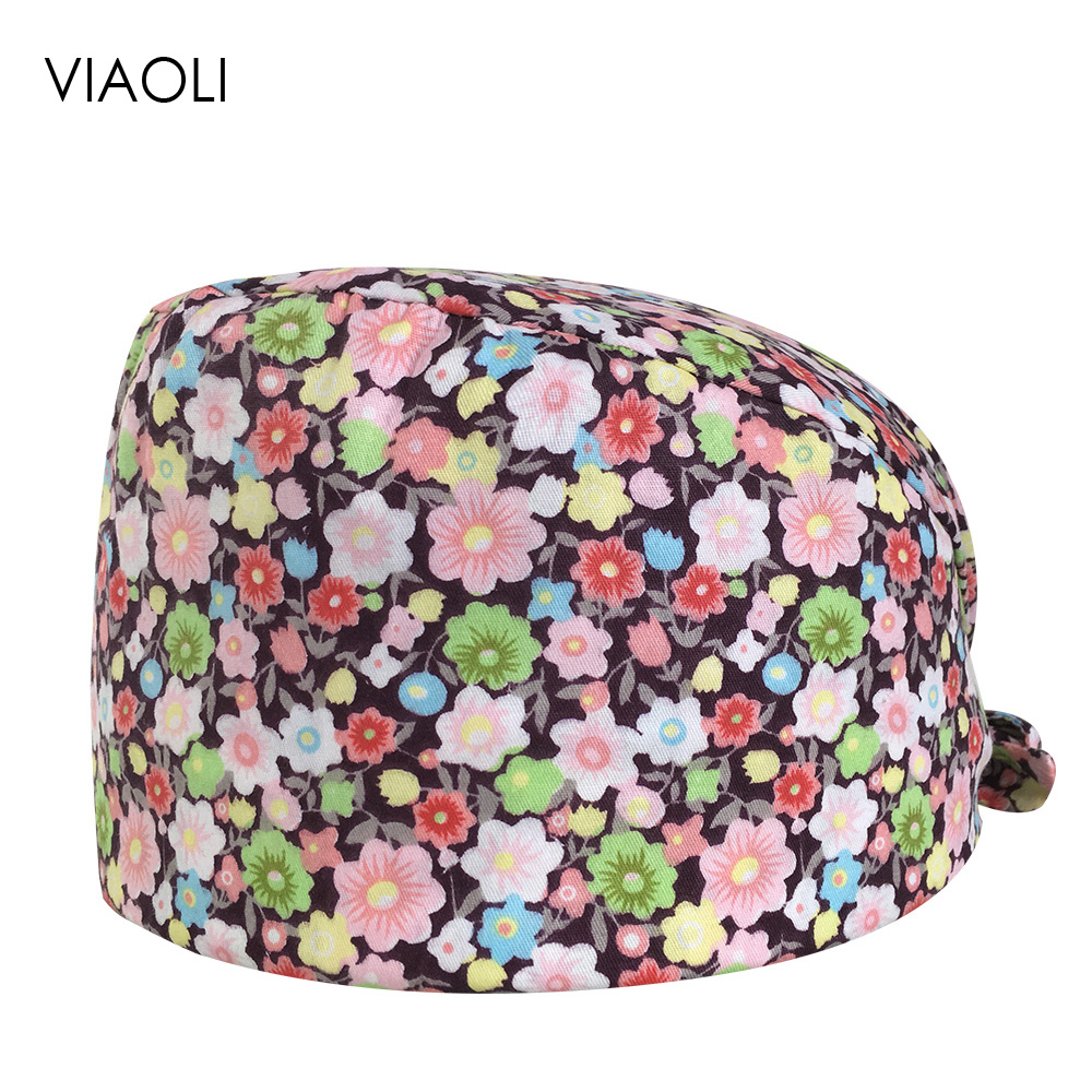 VIAOLI Men Women Medical Scrubs Pharmacy Work Cap Surgery Nurse Hat Oral Cavity Dental Clinic Pet Veterinary Surgical Cap076