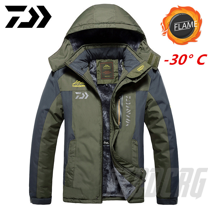 دايوا ملابس لصيد السمك الشتاء الخريف الشتاء مقاوم للماء الدافئة الصيد الستر الرجال الصوف سميكة في الهواء الطلق الصيد القمصان M-9XL