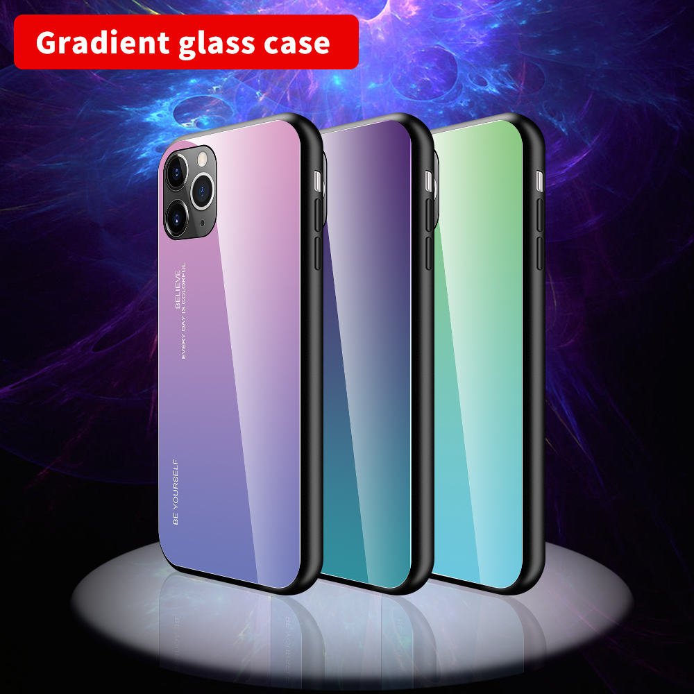 For iPhone 11 Pro Max Gradient Tempered Glass Case Shockproof Hard Cover For iPhone 11 2019 5.8 6.1 6.5 Size Housing Shell