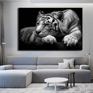 Черно-белый тигр плакат Современный принт животных на холсте картины Домашний Декор для гостиной украшение картина настенная живопись